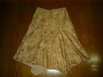 キャサリンロス スウェード風 裾デザイン大人フレアースカート