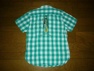 wackomariaワコマリアマリアステッチチェックシャツM緑白系刺繍