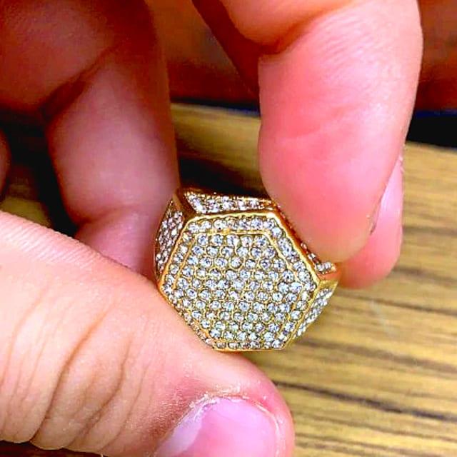 特A品新品1円〜★送料無料★23号ヘビー多石ダイヤモンド黄金ゴールドリング