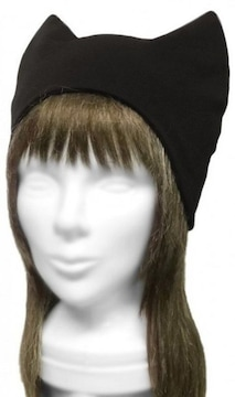 ハンドメイド◆シンプル ネコ耳帽子◆コットンニット/ブラック
