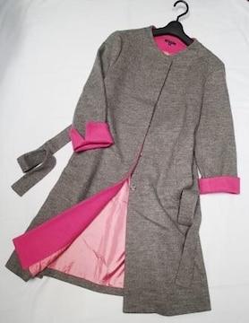 ◆Do CLASSE◆毛100% ノーカラー ロングコート/大きいサイズ15