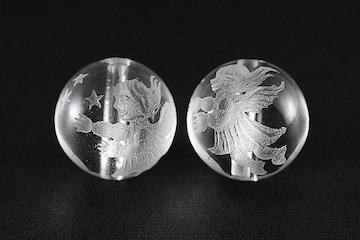 ☆キラキラ天使☆天然水晶(クオーツ)12mm彫りビーズ@1個