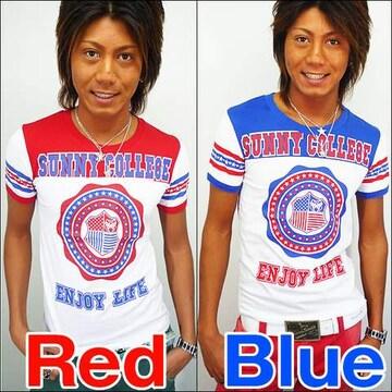 SunnySmith(サニースミス)フットボールスターTシャツ/レッドL