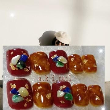 ジェルネイルチップ☆付け爪〜べっこう柄×ボルドー