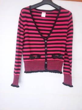 LD Prime ピンク×黒 長袖 カーディガン M N2m