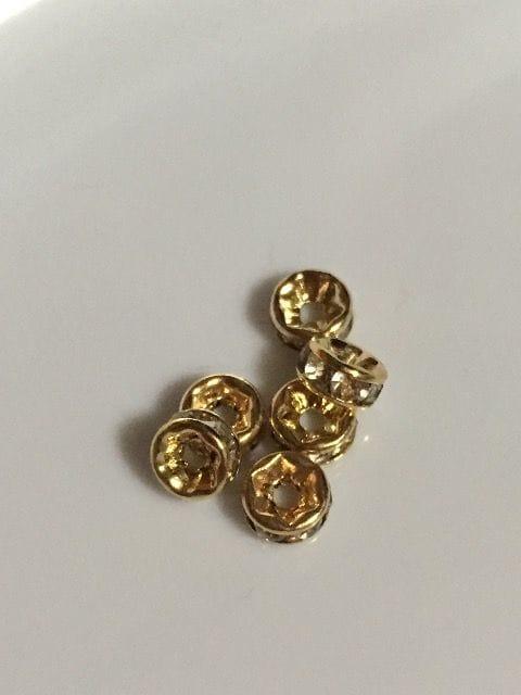 ロンデル 5mm 平型 ゴールドにクリアクリスタル 6個 ko01
