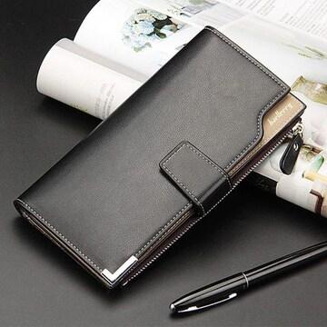 長財布 レザー 二つ折り財布 札 小銭 カード 定期入れ ブラック