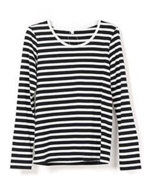 ボーダーコットン100%カットソー/長袖TシャツMサイズ黒×白