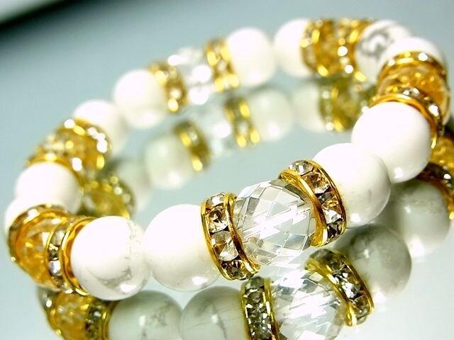 64面ダイヤカット水晶§ハウライトホワイトターコイズ§10ミリ§金ロンデル  < 女性アクセサリー/時計の
