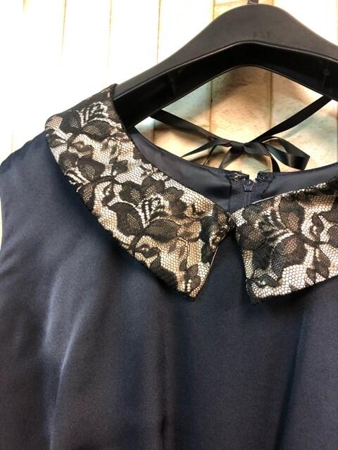 新品☆21号3L大きいサイズ付け衿つきパーティワンピース紺s910 < 女性ファッションの