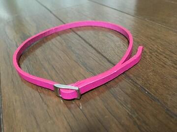 新品未使用 ピンクレザー革製品 チョーカー ブレスレット