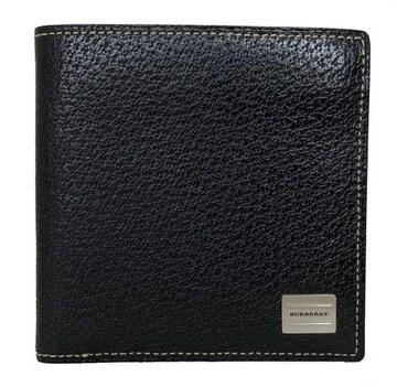 新品同様正規バーバリー二つ折り財布レザー札入ブラック