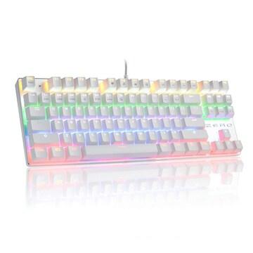 メカニカルキーボード 青軸 ゲーミングキーボード 白