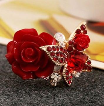 新品[7871]赤大きな薔薇と蝶のリング/指輪/ゴシック/ゴスロリ