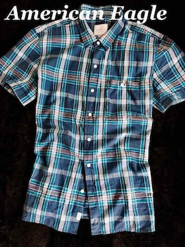 【アメリカンイーグル】マドラスシャツ US-XL(XXL)Blue