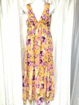 リゾートフラワーピンクオレンジ紫シフォンマキシワンピドレス