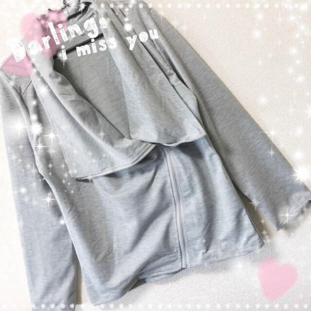 新品☆シンプル♪ななめジップ付きジャケット グレー XXL < 女性ファッションの