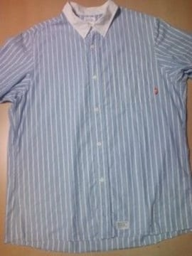 半額以下!W−TAPS 半袖シャツ ブルーxホワイト ダブルタップス