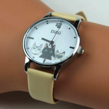 【春の大特価セール】★猫柄腕時計 DZG クリーム Wa03cr