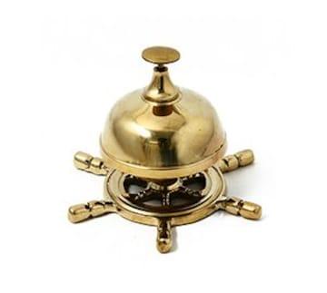特価★ゴールド/テーブルベル/呼び鈴/店舗/マリン/舵/船★海賊