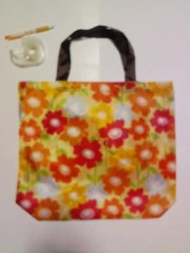 買い物エコバッグ♪花柄♪オレンジ01-89☆カワイイ♪
