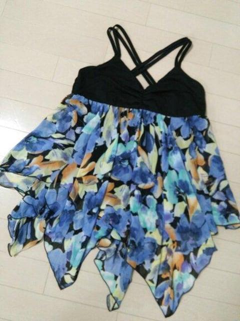 新品◆PENDORA◆花柄シフォンバッククロスキャミソール青系M  < 女性ファッションの
