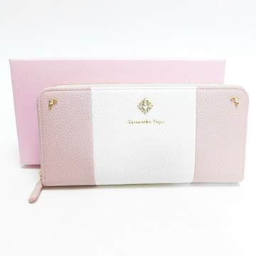 未使用サマンサベガ ファスナー長財布レザー ピンク良品 正規品