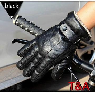 手袋 メンズ 革手袋 レザーグローブ ツーリング ブラック