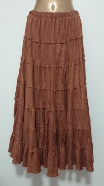 茶色ロングスカート秋冬物  < 女性ファッションの