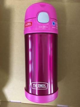 《ピンク》サーモス 保冷 ステンレス水筒 ストロー 350ml 真空