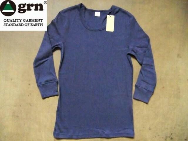grn(ジーアールエヌ)無地 7分袖 Tシャツ S ネイビー  < 男性ファッションの