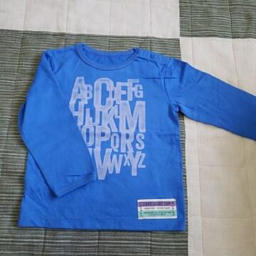 100cm 男の子 英字 ロンT Tシャツ ブルー
