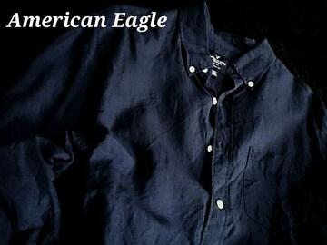 【アメリカンイーグル】Vintage カジュアル リネンシャツ(綿&麻)US−L(XL)/Navy