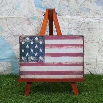 新品【ブリキ看板】星条旗 アメリカ合衆国旗