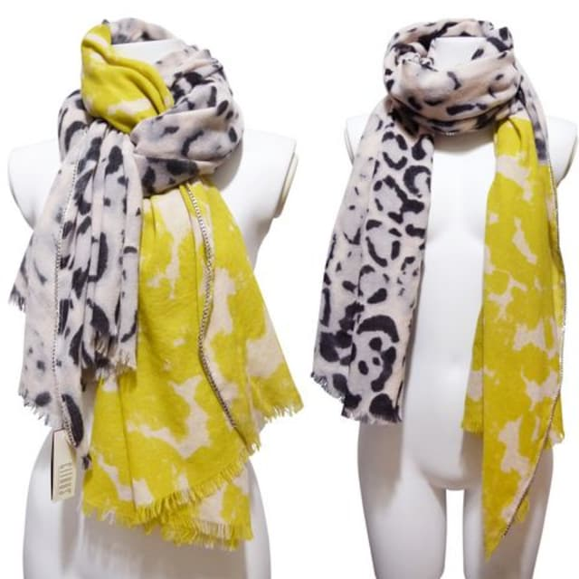 新品シトラスCITRUSチェーン付レオパード柄ストール黄色×ヒ < 女性ファッションの