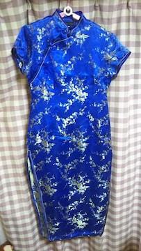 ★ BODY LINE チャイナ ドレス ブルー メタリック 刺繍 サイズ40  セクシー