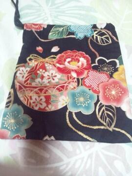 ☆新品黒麻葉×牡丹金彩花束大鞠和柄ナナメ掛巾着袋