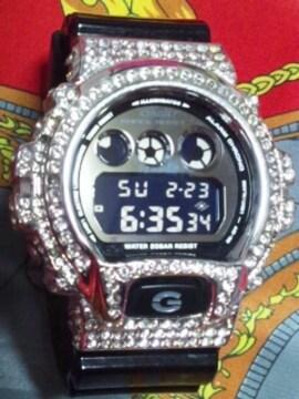 CASIODW-6900NBカスタムGショックcustom金属製メタルベゼルダイヤ付