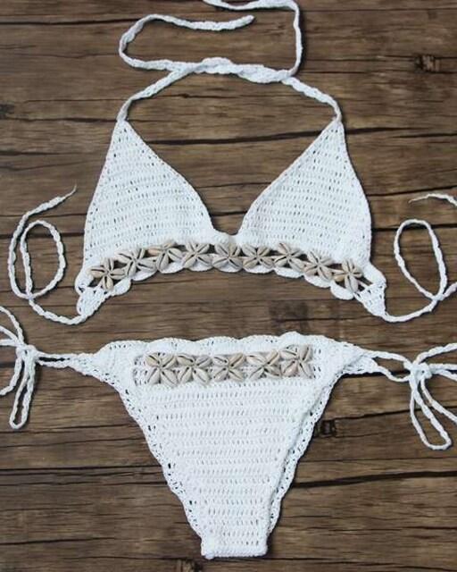 レディース 水着 かぎ針編み ホワイト < 女性ファッションの