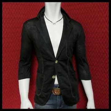リネン七分袖テーラードジャケット/BLK/M 麻100%