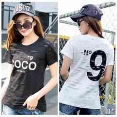 大きいサイズ 穴あき風 N9 COCOロゴ人気Tシャツ 4L~6L黒/901378