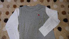 kids☆美品☆polo☆シャツ×ニット ドッキング上品トップス☆110cmユニセックス