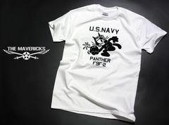 ミリタリーTシャツ XL 米海軍 黒猫 PANTHER パンサー 白 新品