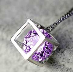 新品 1円〜 ★送料無料★ Silver925 輝くダイヤ キューブペンダント紫 CZ