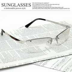 新品 オラオラ系 リームレス型 サングラス メンズ UVカット チョイワル系 伊達眼鏡 SM-7