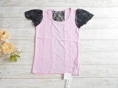 新品 LAZY DAISY 黒 レース 切り替え ピンク Tシャツ