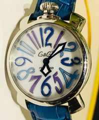 良品ガガミラノレディース時計レザーベルトマニュアーレブルー