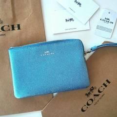 COACH水色メタリックブルー姫ストラップポーチ携帯ケース小銭入