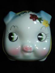 子豚 かわいい 豚 ブタ ぶた 貯金箱 ブルー 陶器