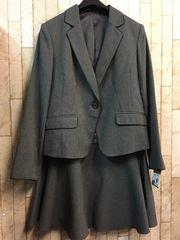 新品☆13号グラマーグレーオフィススカートスーツ洗えるg819